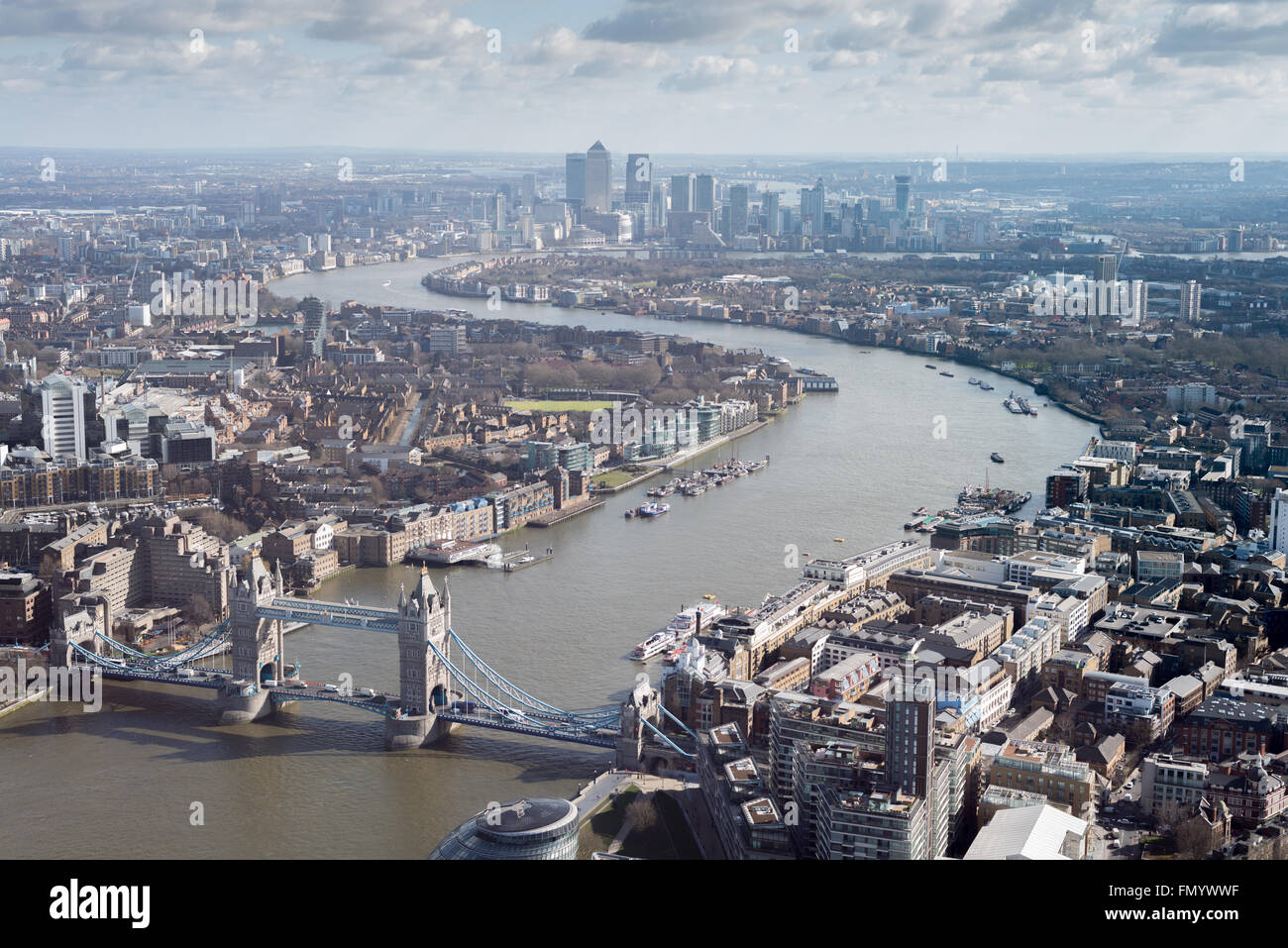 Aerial view of the River Thames and Tower Bridge in London, UK - Stock Image