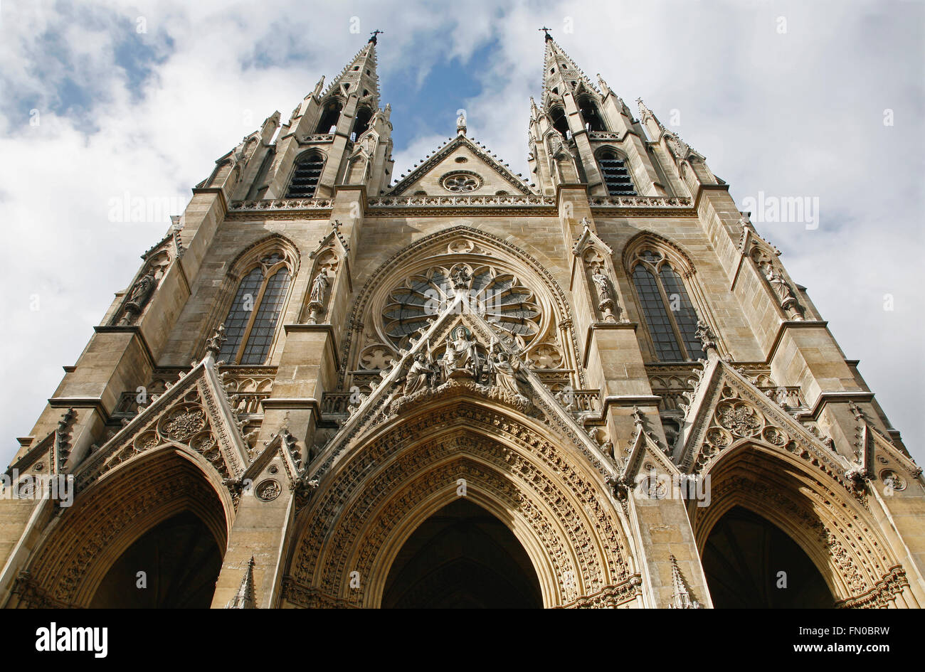 Paris - facade of Saint Clotilde gothic church - Stock Image