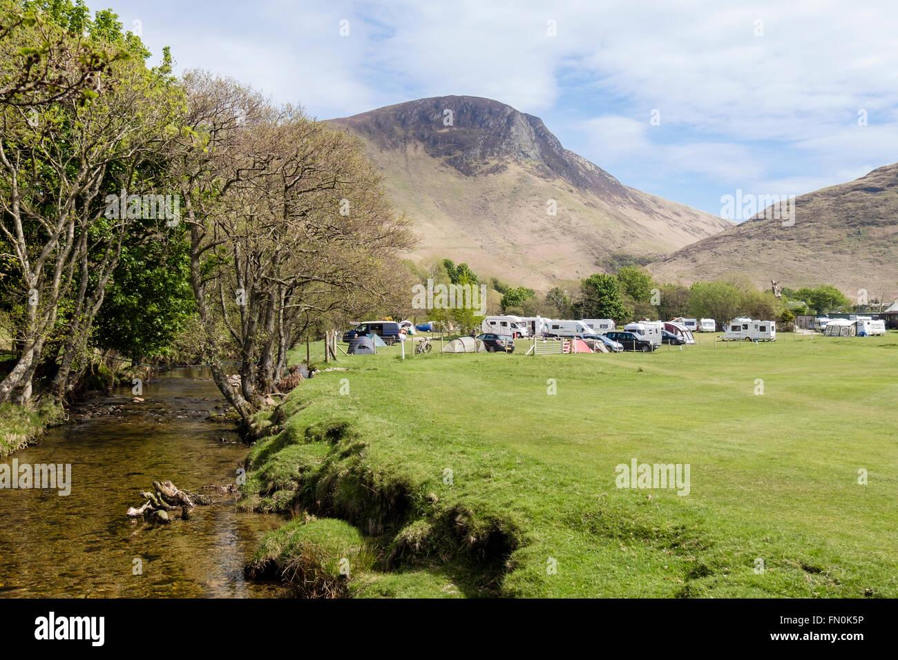 Stream by Lochranza campsite on Isle of Arran, North Ayrshire, Strathclyde, Scotland, UK, Britain - Stock Image