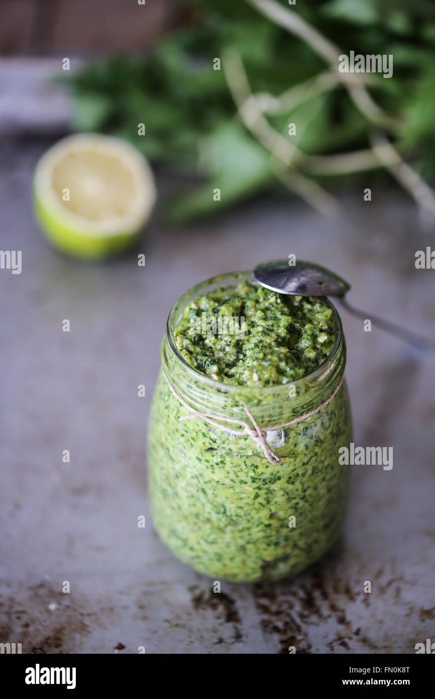 Homemade pesto - Stock Image