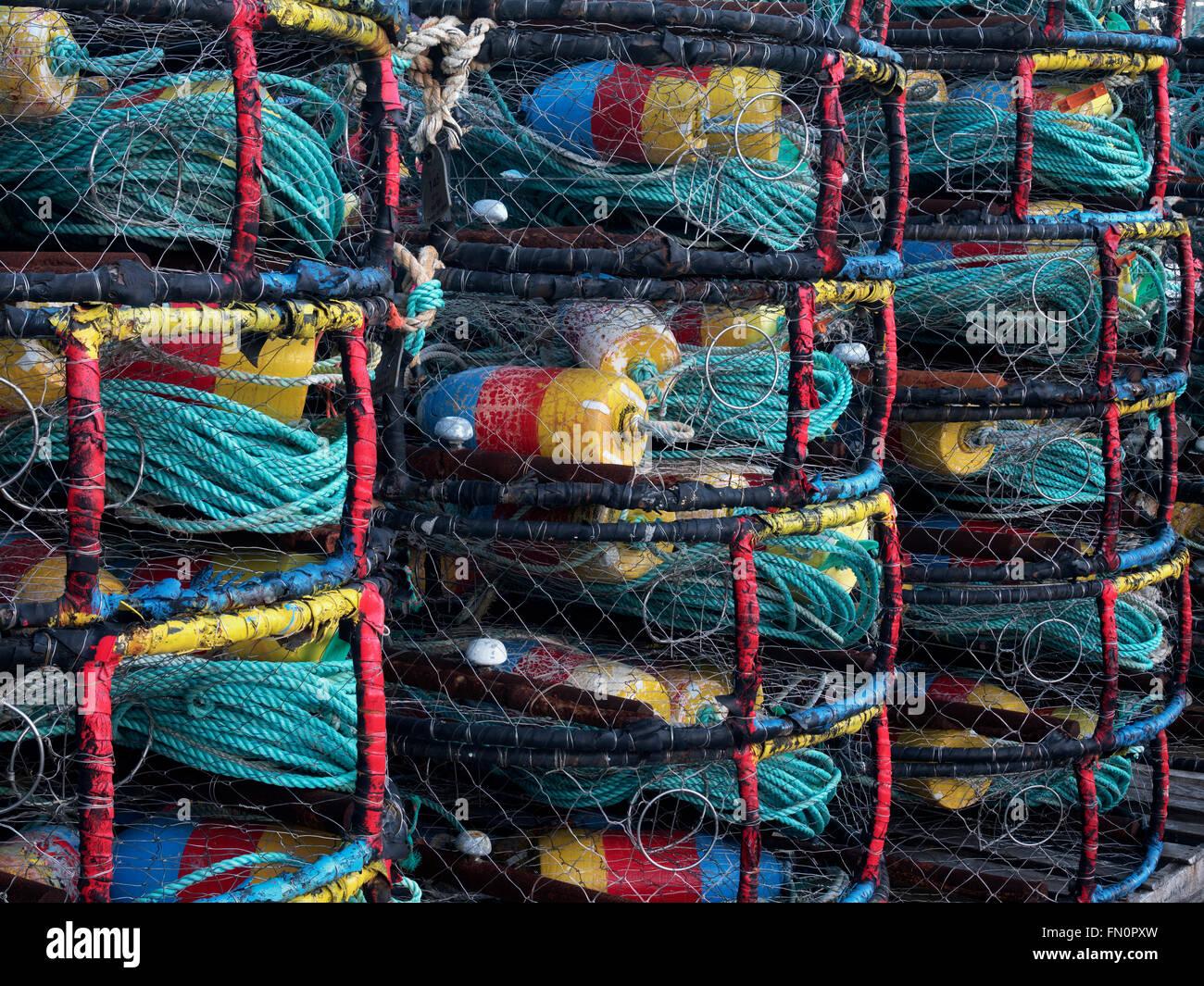 Crab pots  at Newport Harbor on the Yaquina River, Oregon - Stock Image