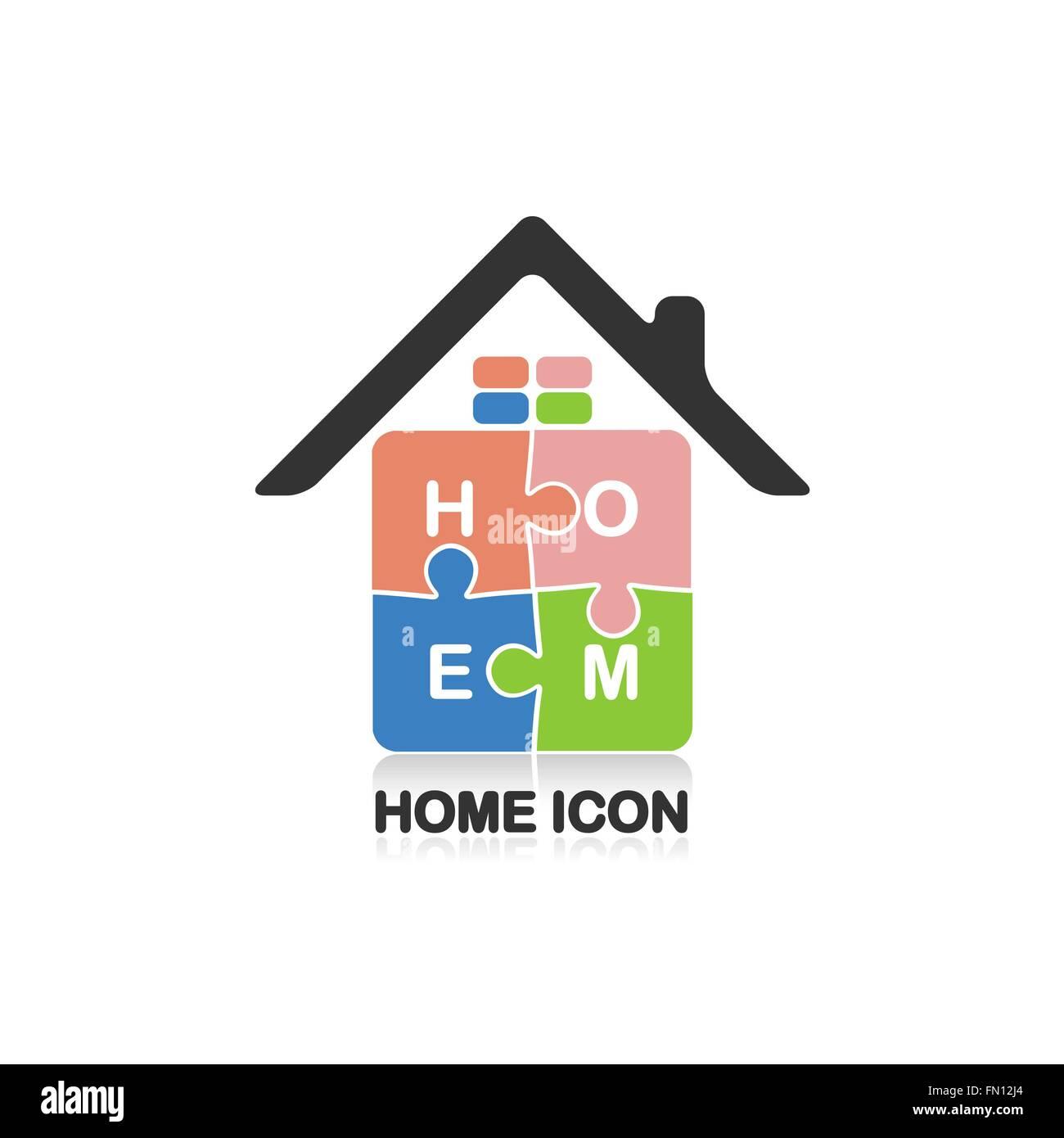 Real estate logo,creative house logo,abstract buildings logo,puzzle home symbol,home icon.Vector illustration - Stock Vector