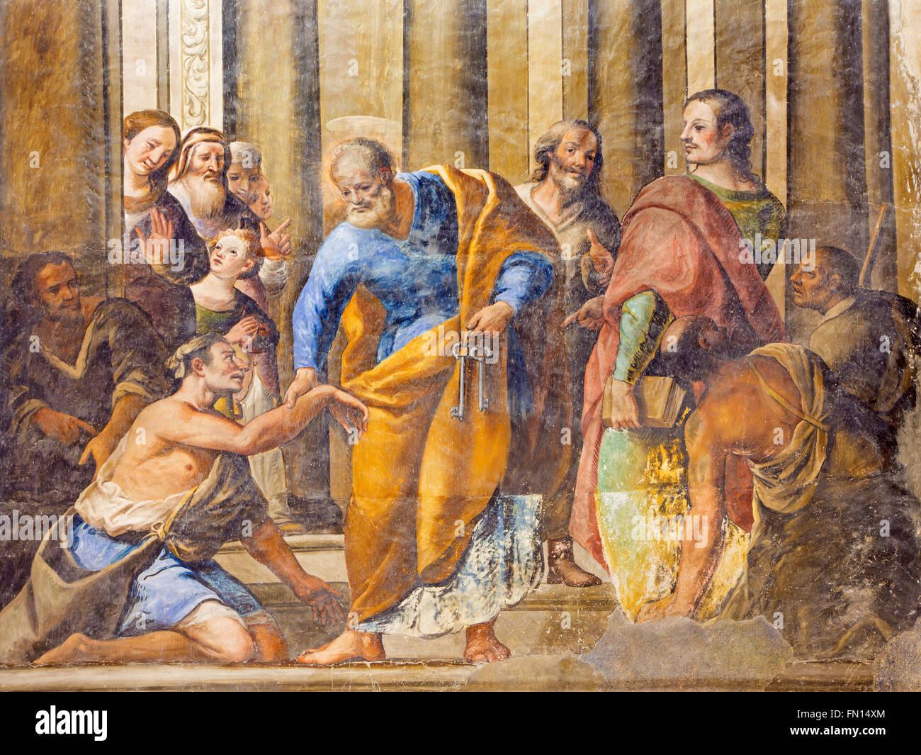 GRANADA, SPAIN - MAY 29, 2015: The fresco of scene as St Peter Healing the Cripple in the church Monasterio de San - Stock Image
