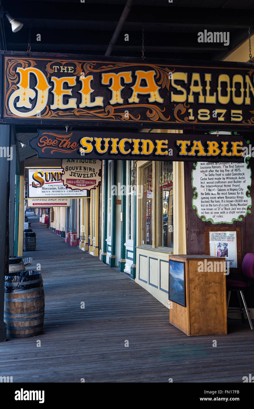 Entrance to the Delta Saloon on C Street in Virginia City, Nevada - Stock Image