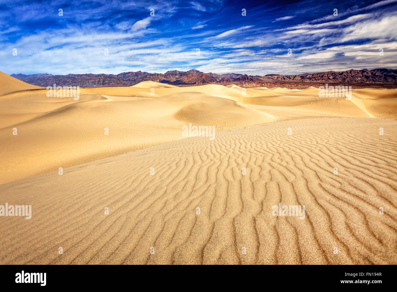 The mesquite flat sand dunes in Death Valley National Park - Stock Image