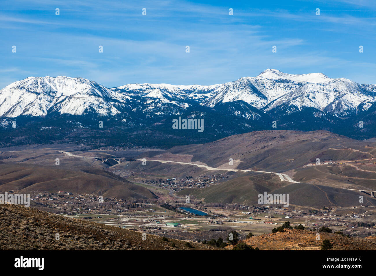 View of the Washoe Valley and Interstate 580 from the Geiger Grade Road south of Reno, Nevada - Stock Image