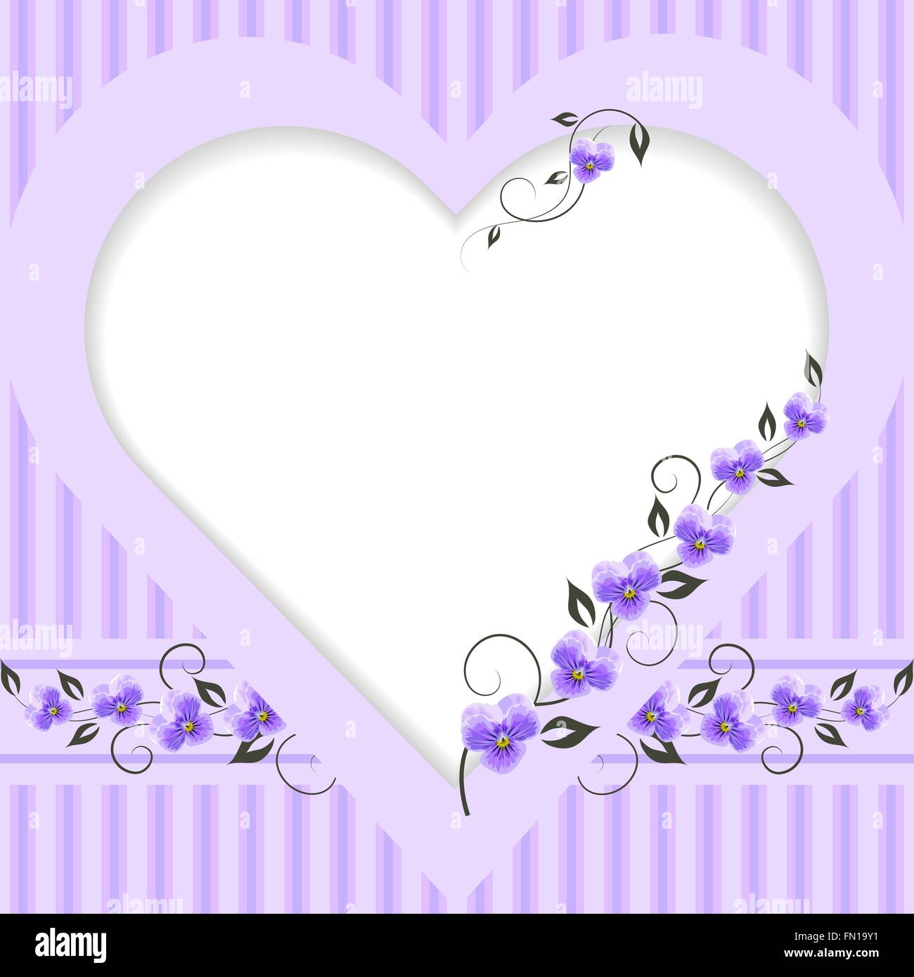 Vintage frame in shape of a heart - Stock Image