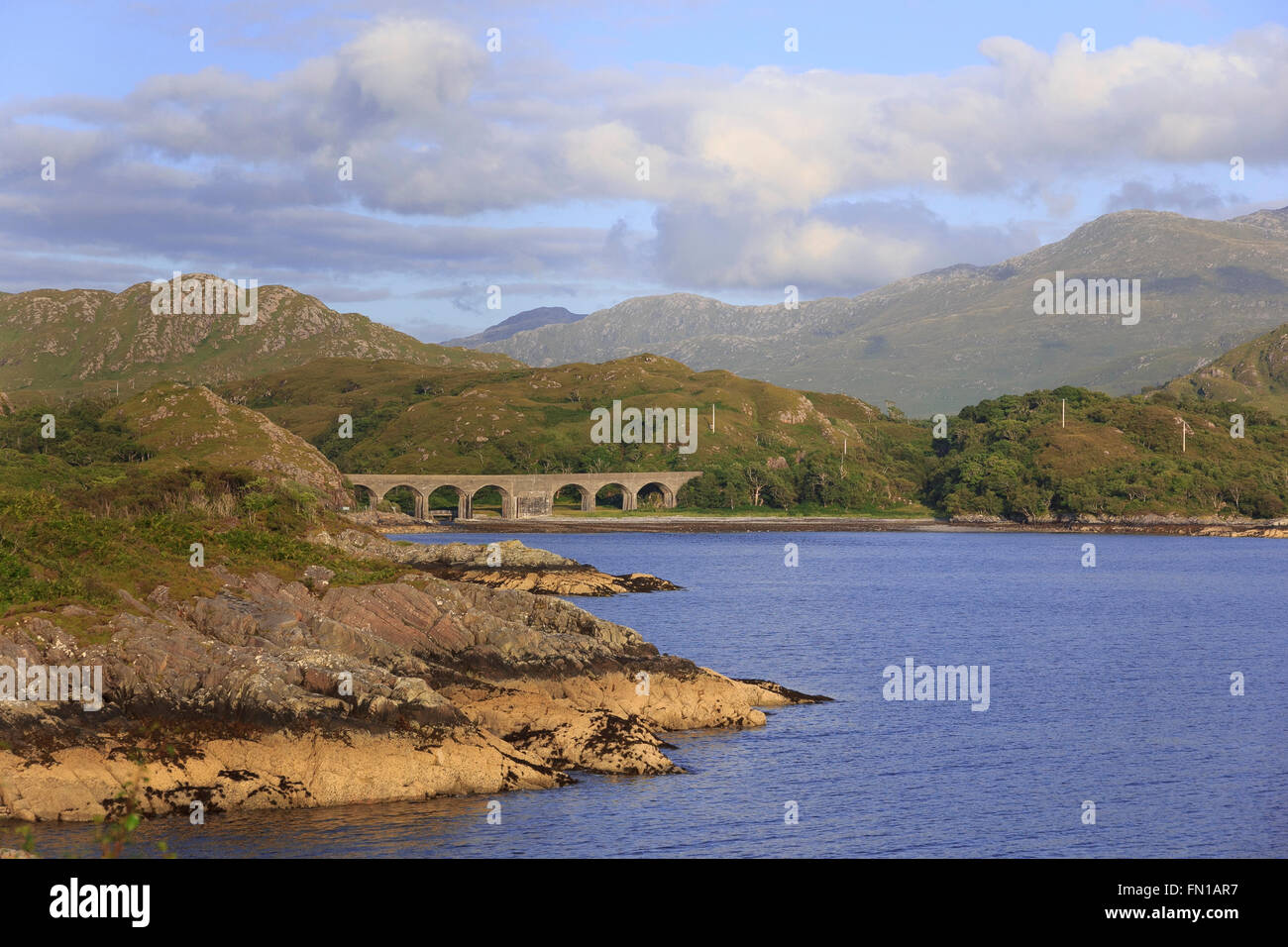 Loch nan Uamh on the Road to the Isles, from where Bonnie Prince Charlie made his escape after defeat at Culloden. Stock Photo
