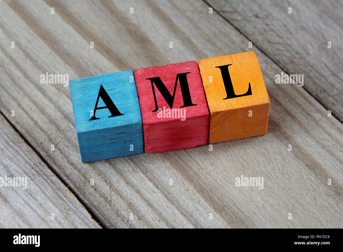 AML ( Acute Myeloid Leukemia) acronym on colorful wooden cubes - Stock Image