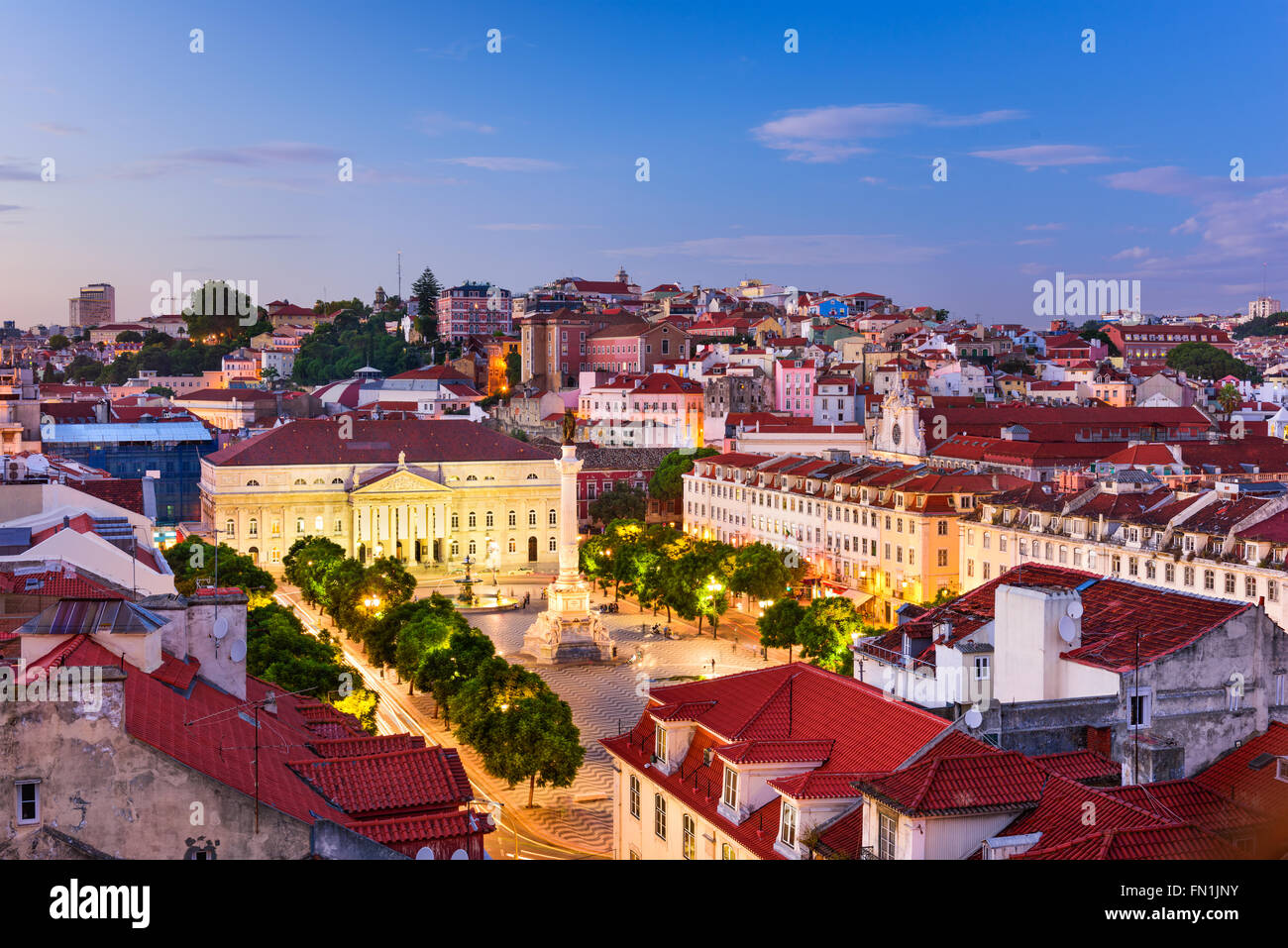 Lisbon, Portugal skyline over Rossio Square. - Stock Image