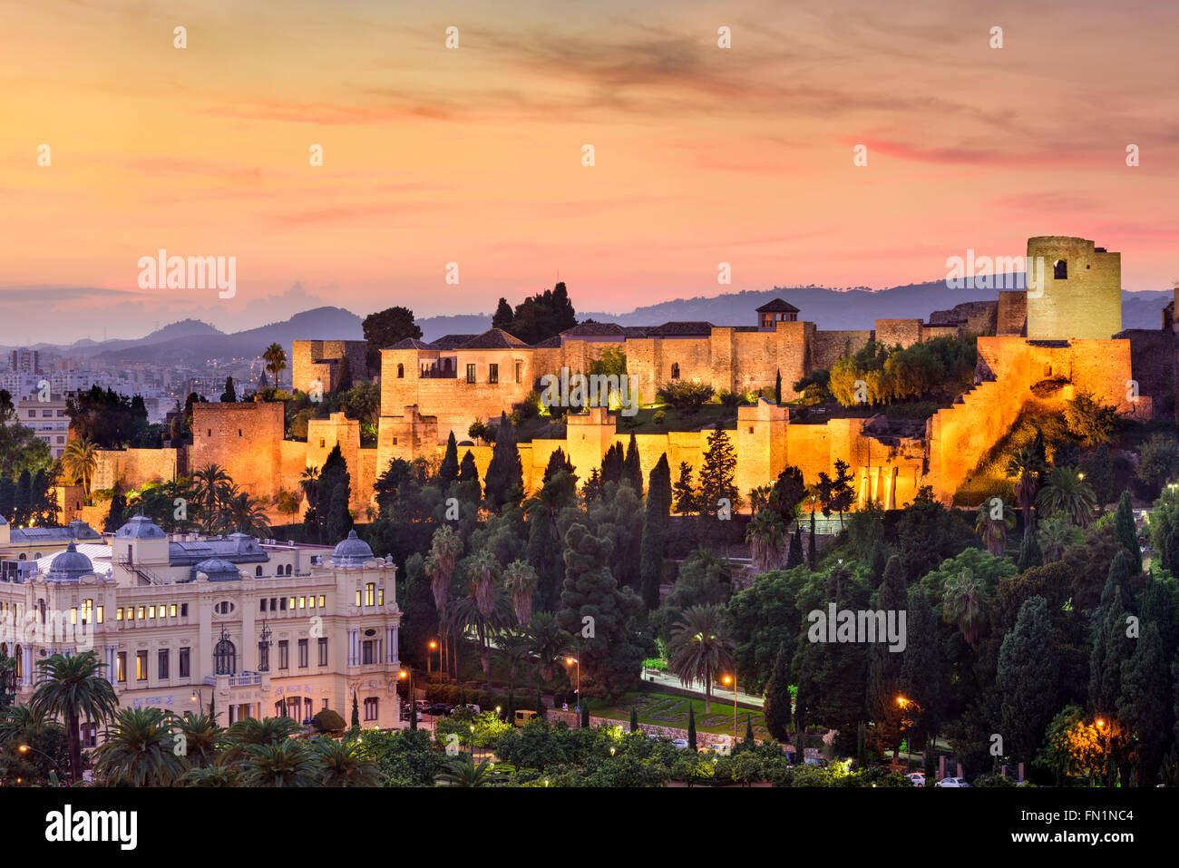 Malaga, Spain at the Alcazaba citadel. - Stock Image