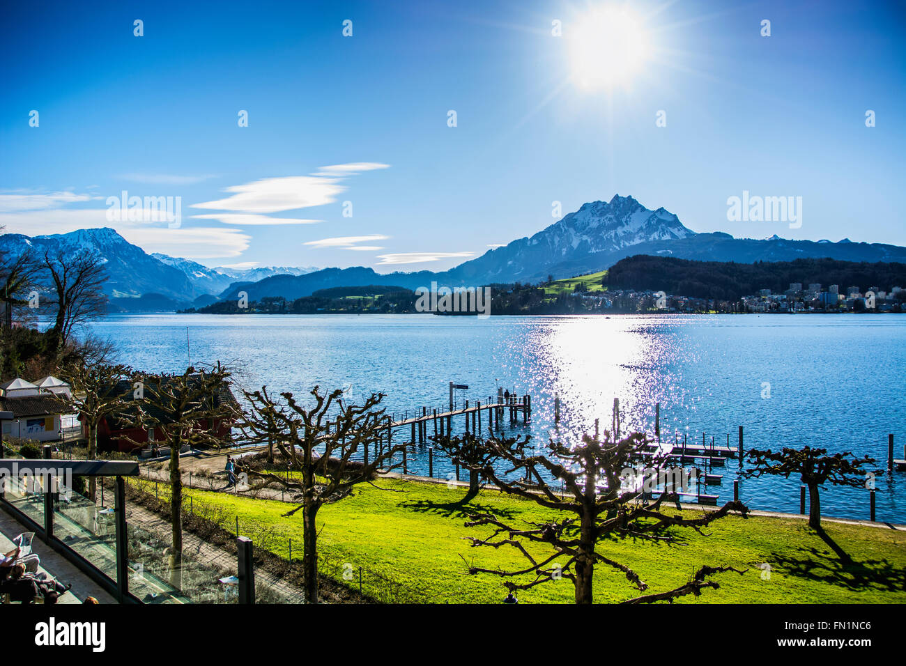 Fascinating view of Lucerne Lake in Switzerland in a sunny day - Stock Image