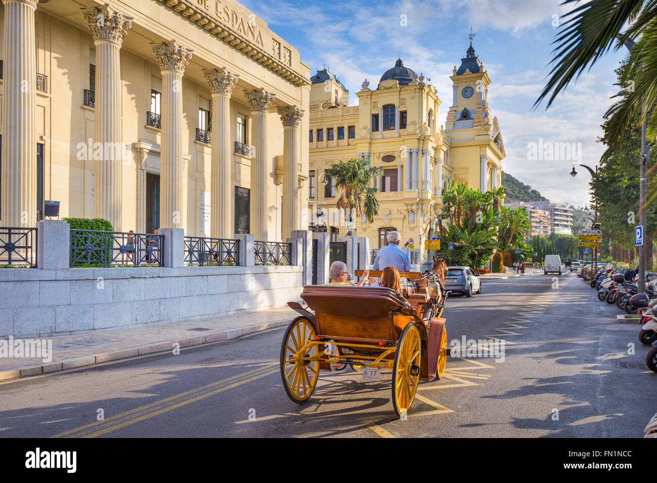 Malaga, Spain horse carriage and street scene. - Stock Image