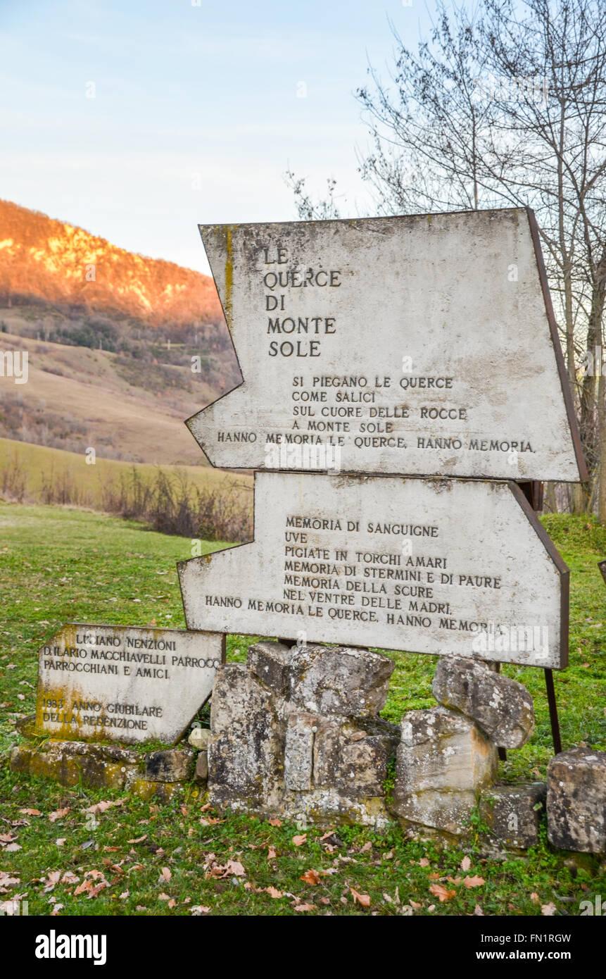 Monte Sole slaughter memorial - Bologna - Stock Image
