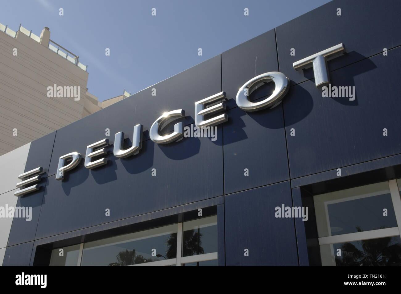 Peugeot Car Showroom sign,Malaga Spain - Stock Image