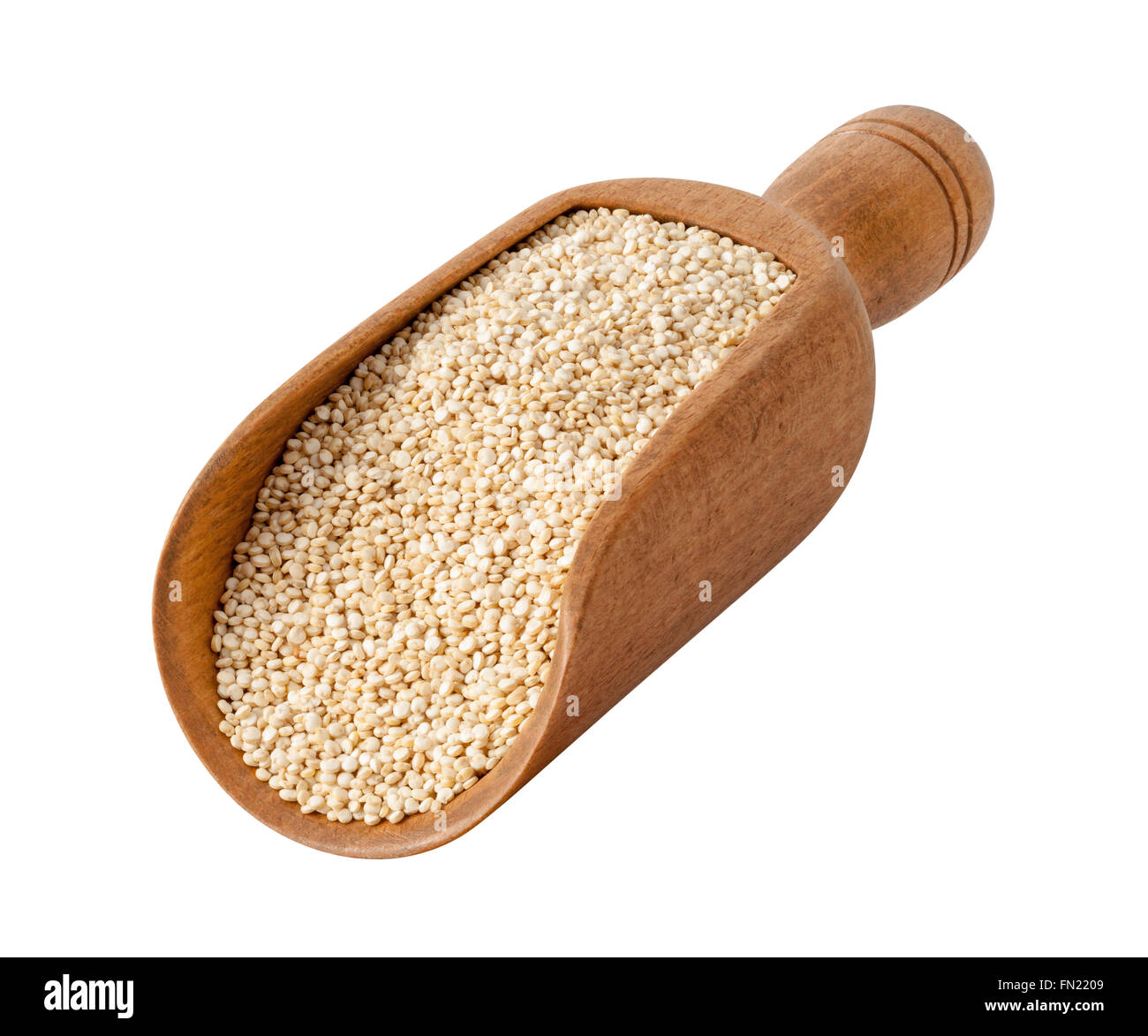 White Pearl Quinoa in a Wood Scoop. The image is a cut out, isolated on a white background. - Stock Image