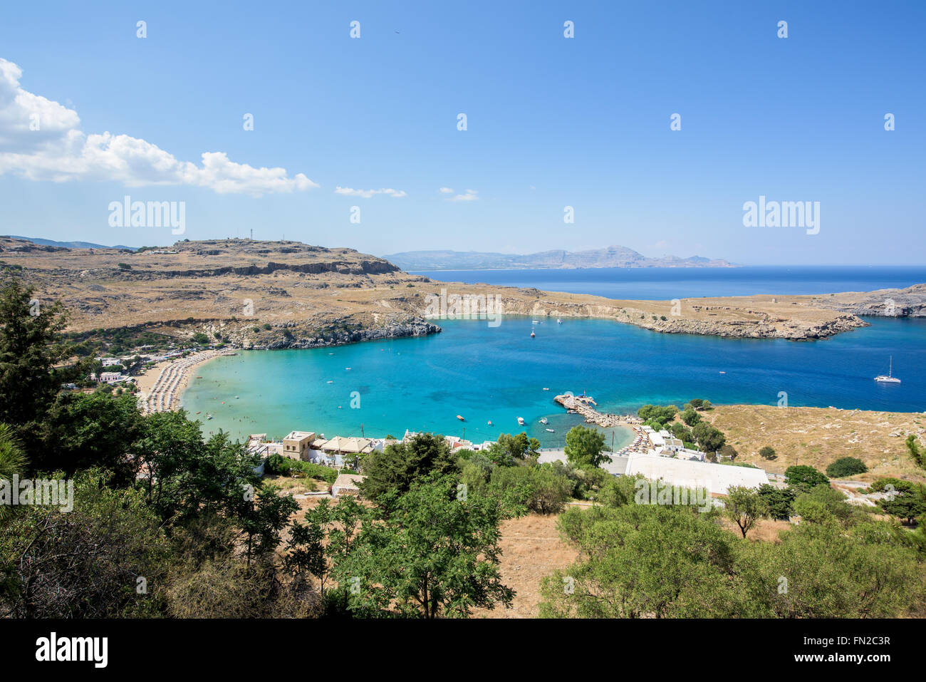 Bay in a city of Lindos on Rhodos island - Stock Image