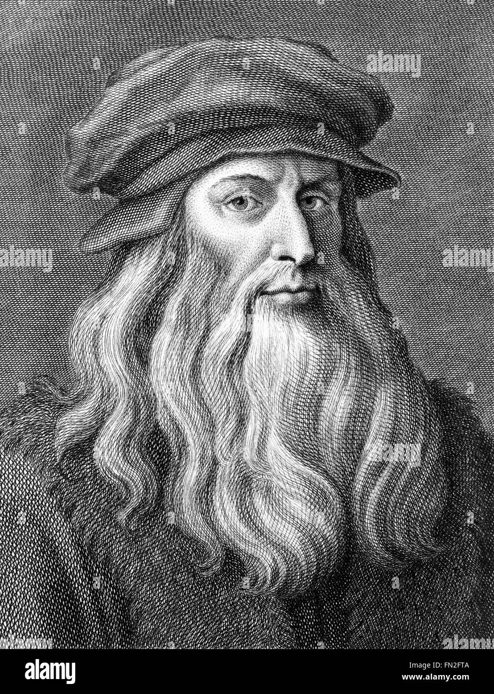 Leonardo da Vinci, portrait engraved by Cosimo Colombini between 1770 and 1810. - Stock Image
