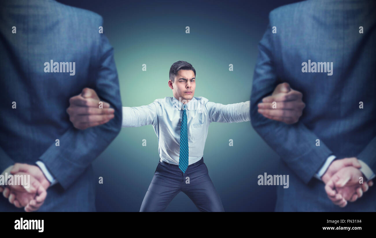 Man with two guards - Stock Image