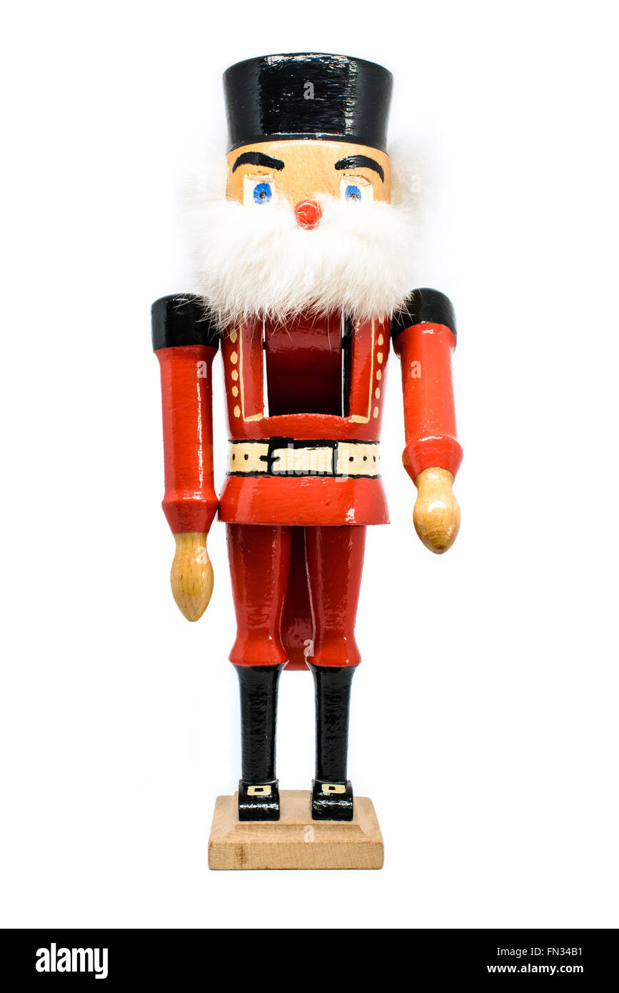 Traditional Nutcracker on white Stock Photo