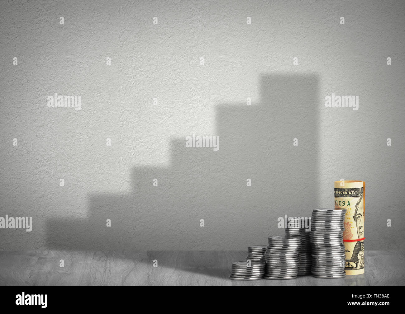 financial growth concept, money with shadow - Stock Image