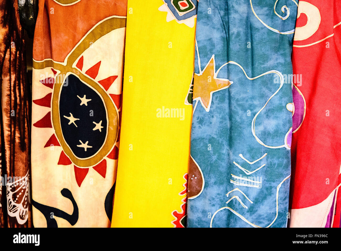 Tropical Sun Dresses, Redcliffe Quay, St. John's, Antigua - Stock Image