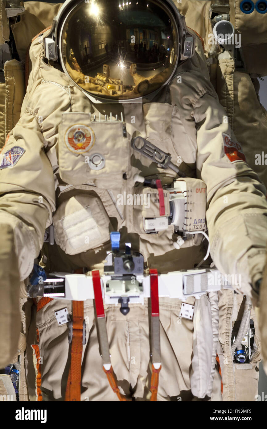 London, UK. 12th Mar, 2016. Cosmonauts: Birth of the Space Age.Orlan DMA-8 extravehicular activity spacesuit, 1988. - Stock Image