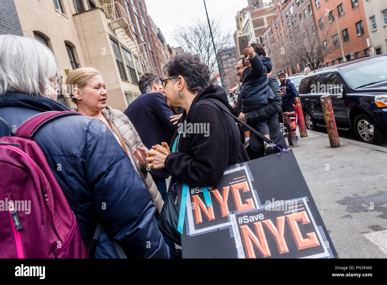 New York, NY - 13 March 2016 Protesters rally outside  an Associated supermarket on West 14th Street. The supermarket, - Stock Image