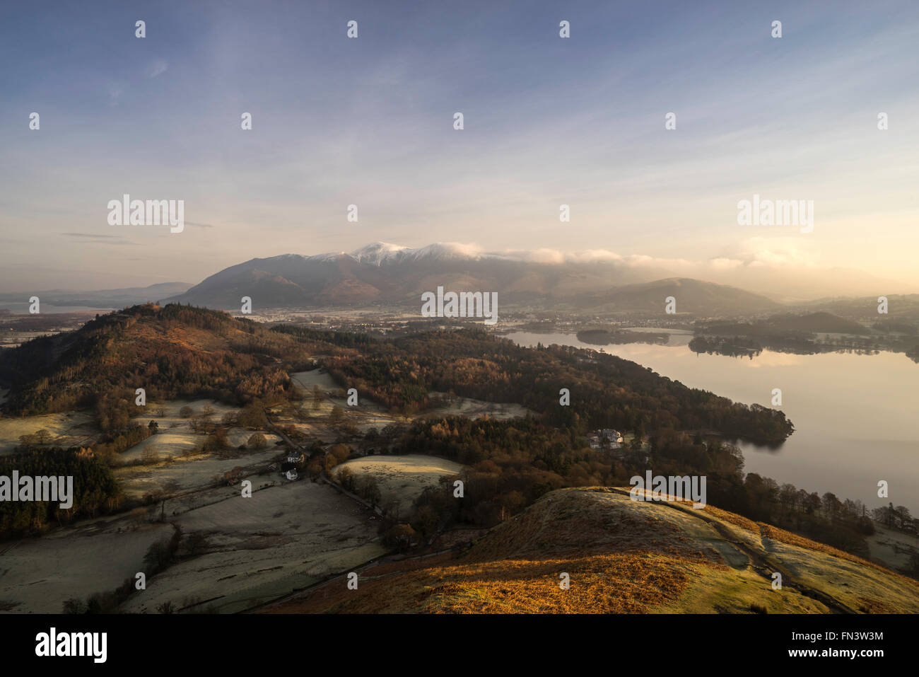 Derwentwater view from Catbells, Lake District, Cumbria, England, UK - Stock Image