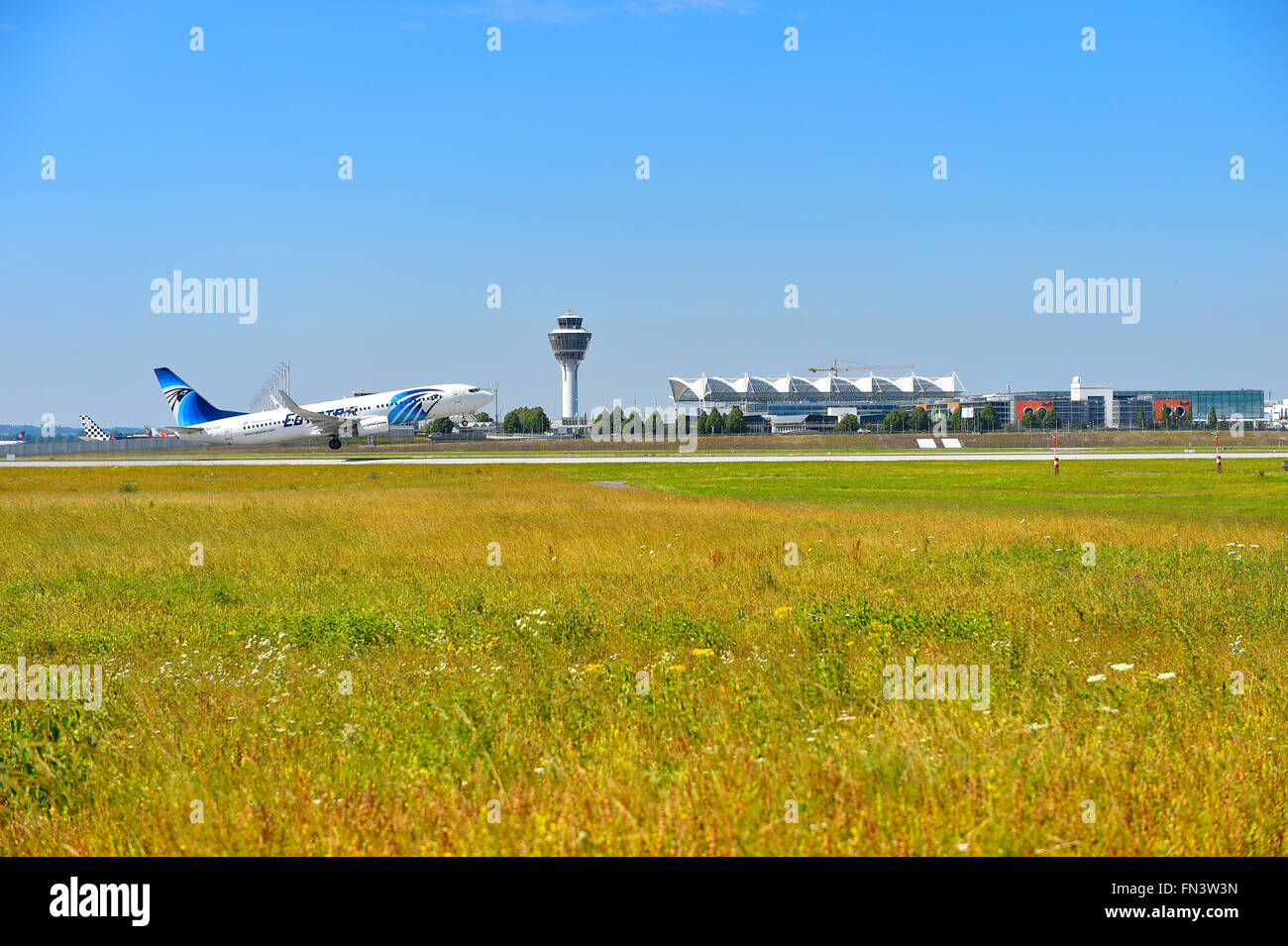 Egypt Air, Airlines, Boeing, B 737 - 800, B737, take of, take off, aircraft, airport, overview, panorama, view, - Stock Image