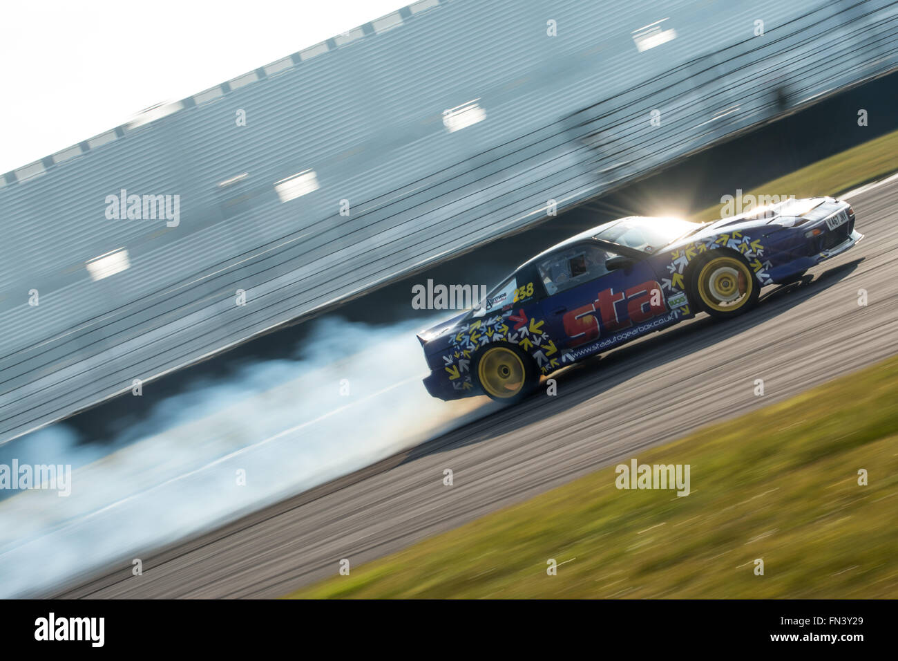 Drift car during Drift Matsuri at Rockingham Motor Speedway on March 13, 2016 in Corby, Northamptonshire, United Kingdom. Credit: Gergo Toth/Alamy Live News