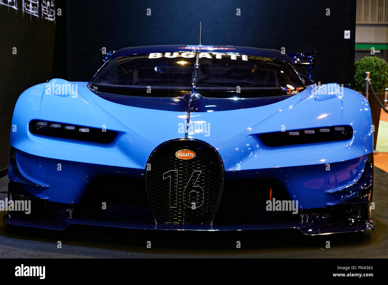 Bugatti Vision Gran Turismo to Retromobile show in Paris - Stock Image