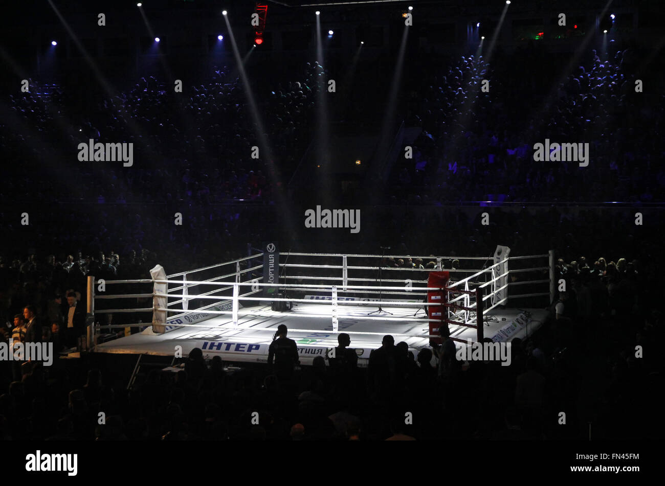 KYIV, UKRAINE - DECEMBER 13, 2014: Boxing ring in Palace of Sports in Kyiv during 'Evening of Boxing' - Stock Image