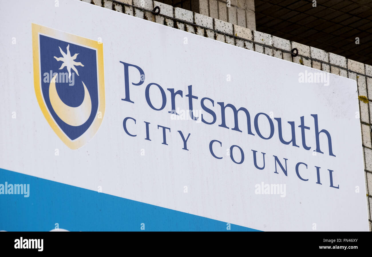 Portsmouth City Council logo and sign at the Civic offices in Guildhall Square, Portsmouth - Stock Image