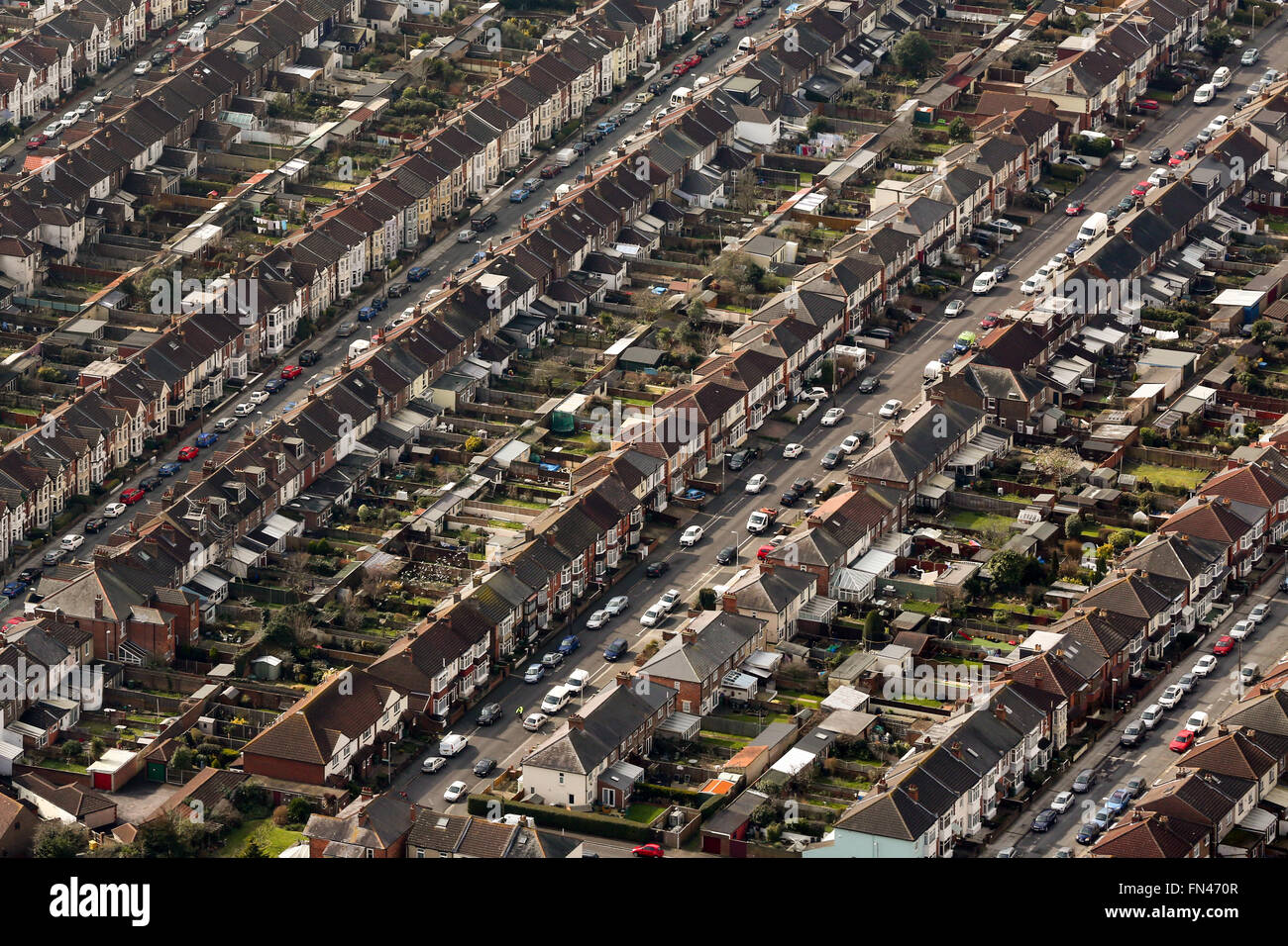 Aerial view of homes in Portsmouth, Hampshire, UK - Stock Image