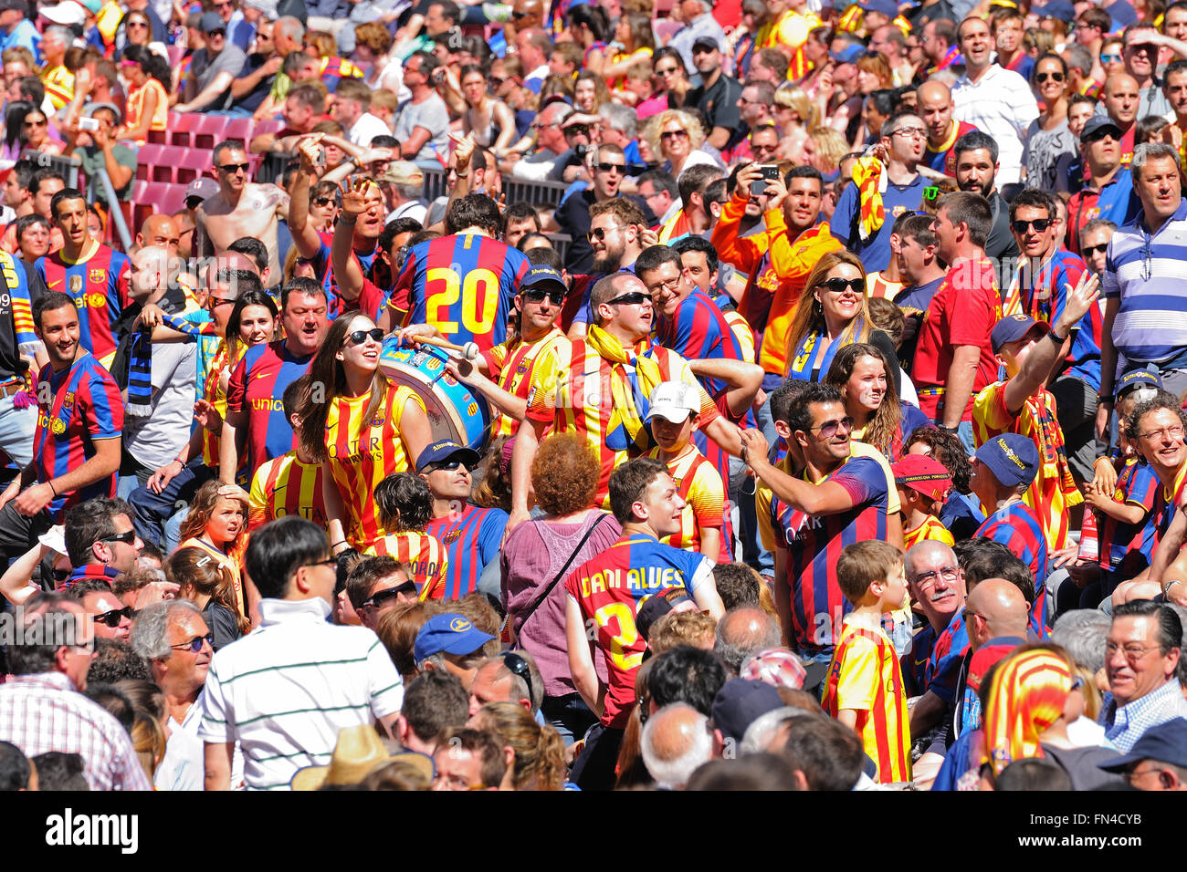 BARCELONA - MAR 26: The Boixos Nois, radical F.C. Barcelona supporters at the Camp Nou on the Spanish League on - Stock Image