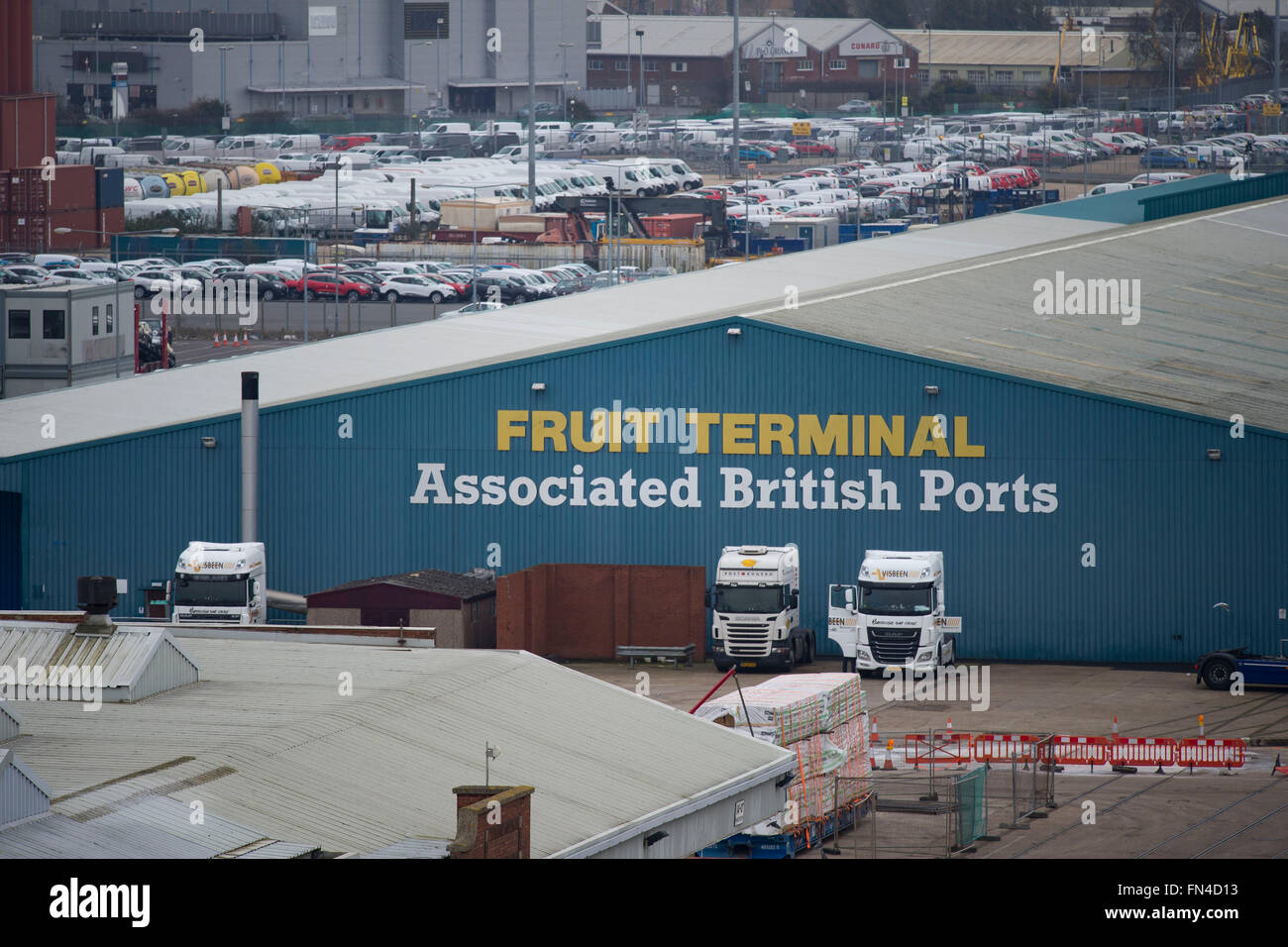 Associated British Ports ABP fruit terminal in Southampton, England. Stock Photo