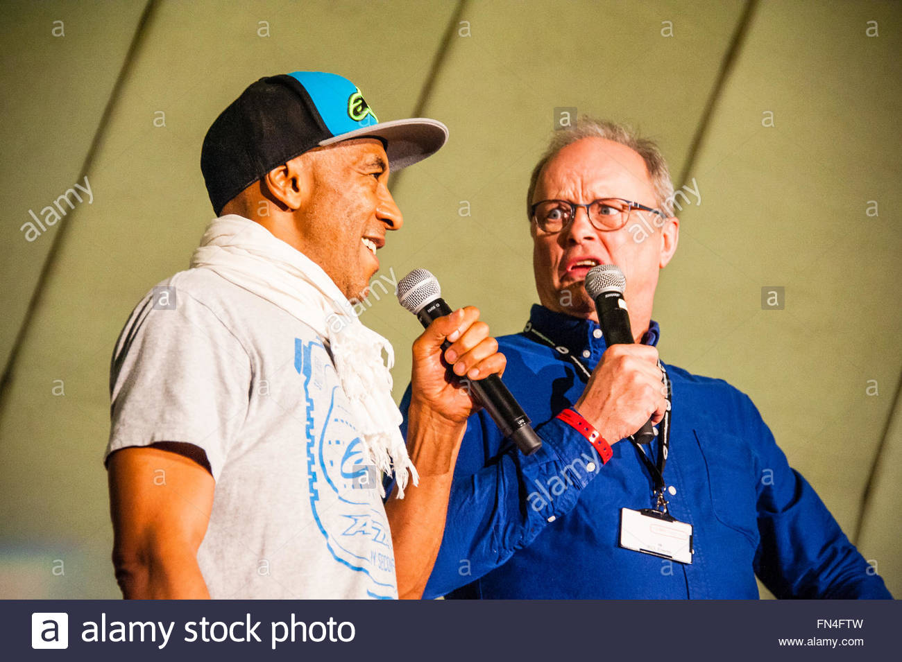 Liverpool, England UK, Sunday 13th March 2016. Robert Llewellyn & Danny John-Jules co-stars in Red Dwarf talk Red Stock Photo