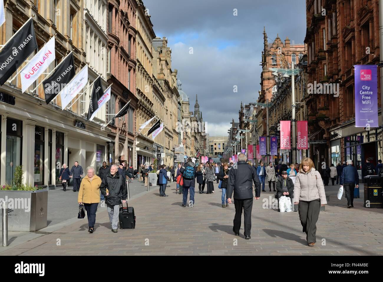People walking on Buchanan Street shopping precinct in Glasgow Scotland, UK. - Stock Image