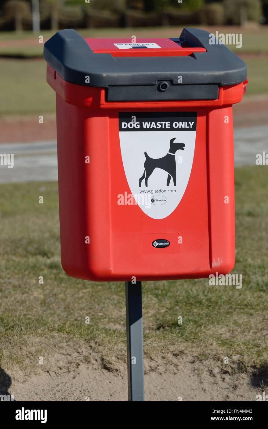 Dog waste receptacle on Ayr seafront, Scotland, UK - Stock Image