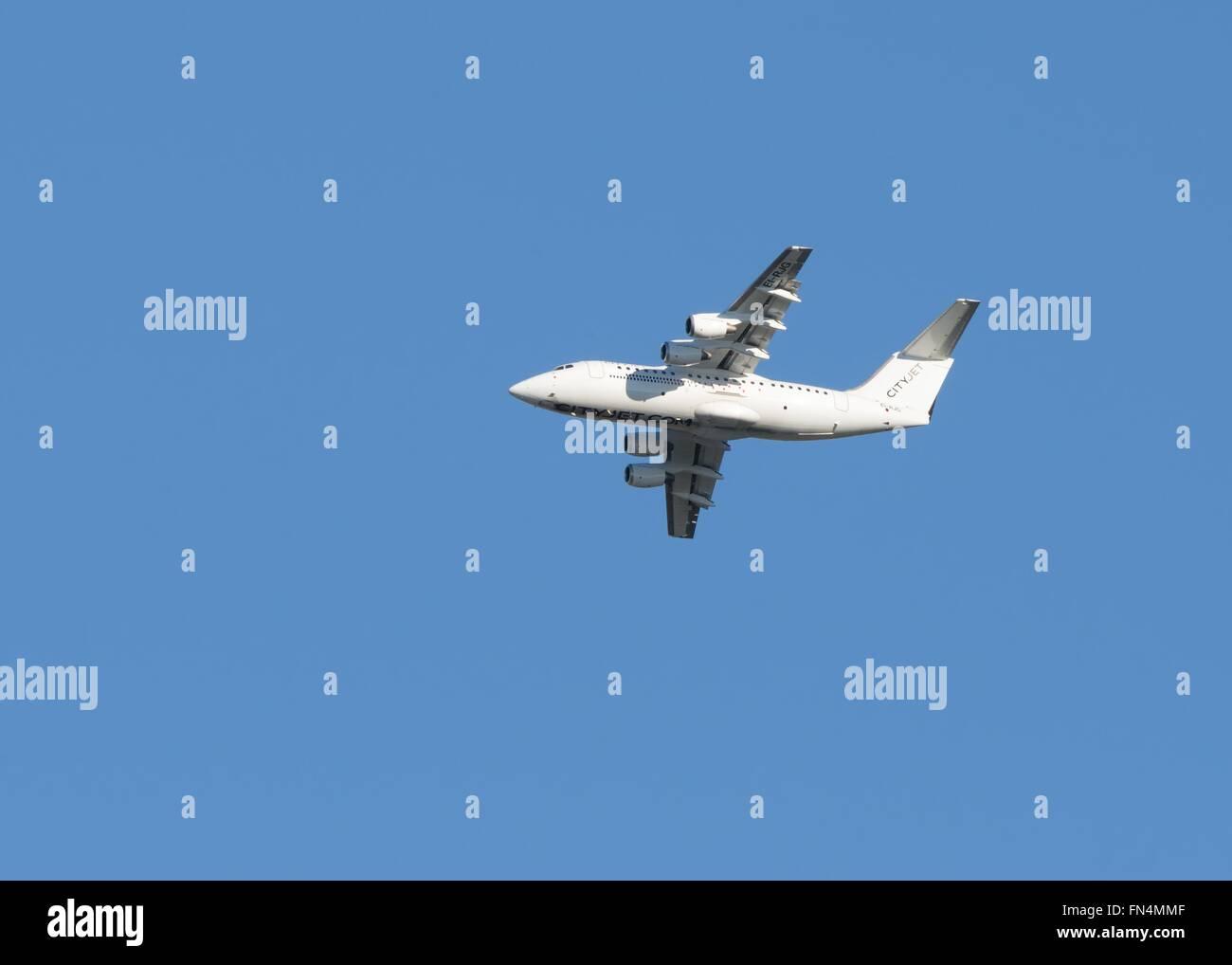 City Jet EI-RJG flying from Prestwick, Scotland, UK - Stock Image