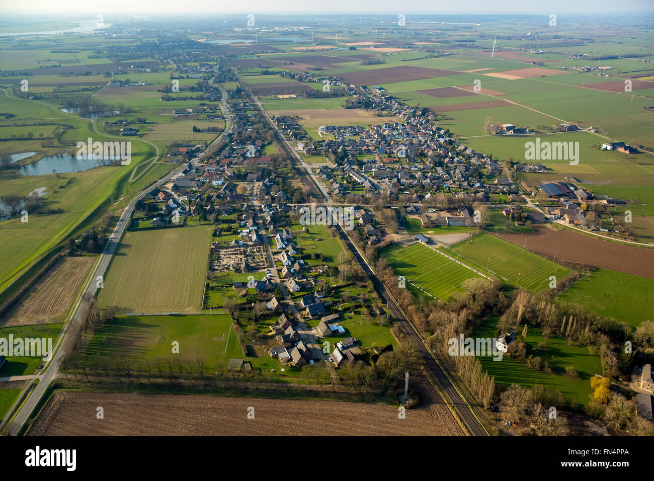 Betuwe Line, Güterfen routes, aerial view, railways history Betuwe Line, long-distance freight haul Betuwe, - Stock Image