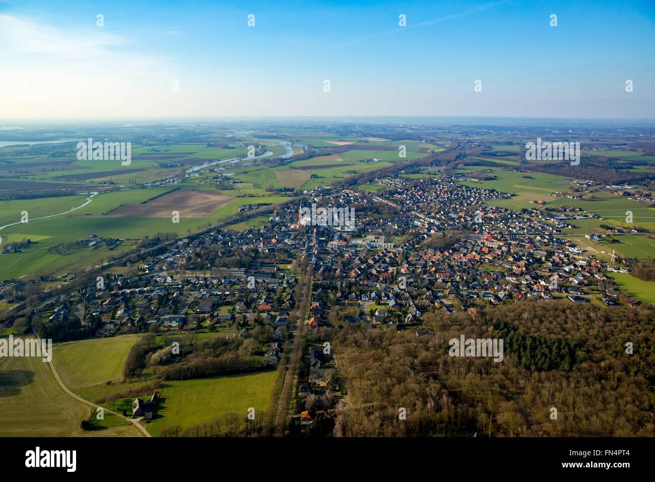 Aerial view, Elten and Hoch-Elten, Emmerich, Lower Rhine region, North Rhine-Westphalia, Germany, Europe, Aerial - Stock Image