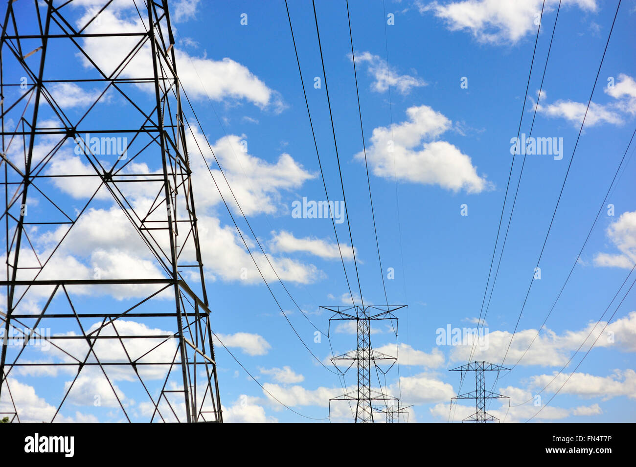 High tension power lines provide reliable service to the suburban Chicago area. Wayne, Illinois, USA. Stock Photo
