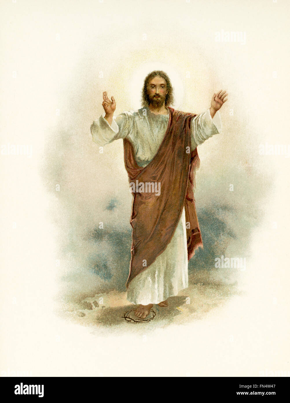 The caption for this illustrations reads:  I know that My Redeemer Liveth. Pictured here as the Redeemer is Jesus - Stock Image