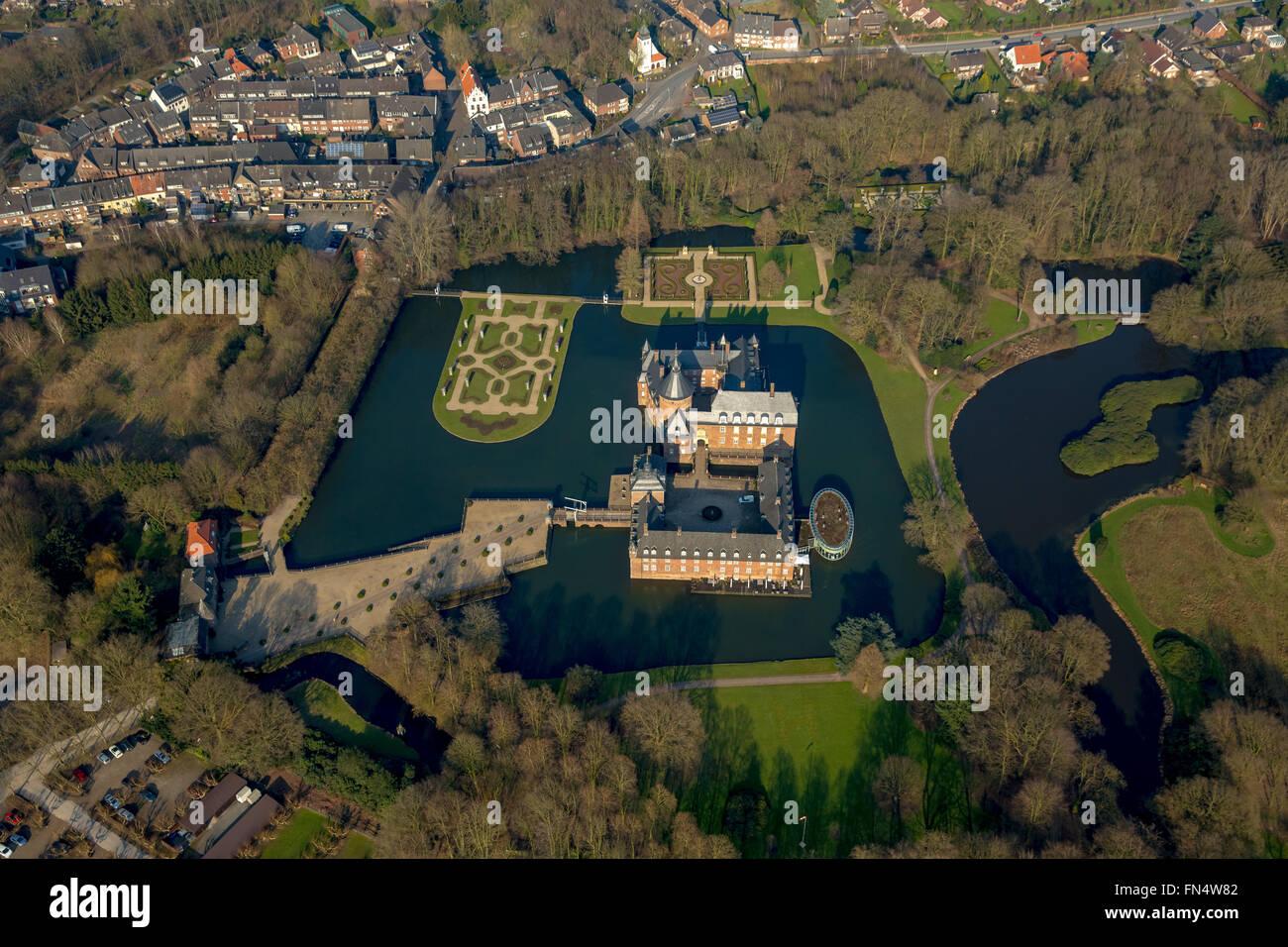 Aerial view, Museum Anholt Castle, Romantik Parkhotel Wasserburg Anholt, castle, Isselburg, Isselburg, Lower Rhine - Stock Image