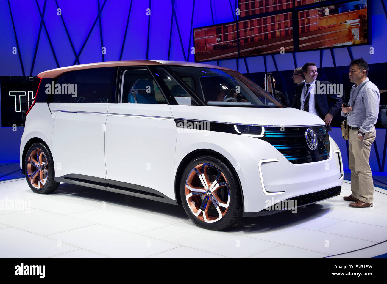Volkswagen VW Budd-E concept electric van at the Geneva Motor Show 2016 - Stock Image