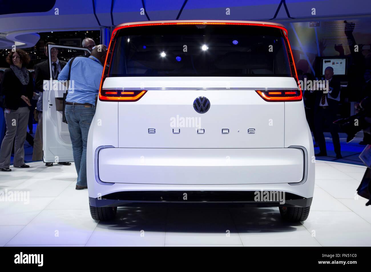 Volkswagen VW Budd-E concept electric van at the Geneva Motor Show 2016 - Stock Image