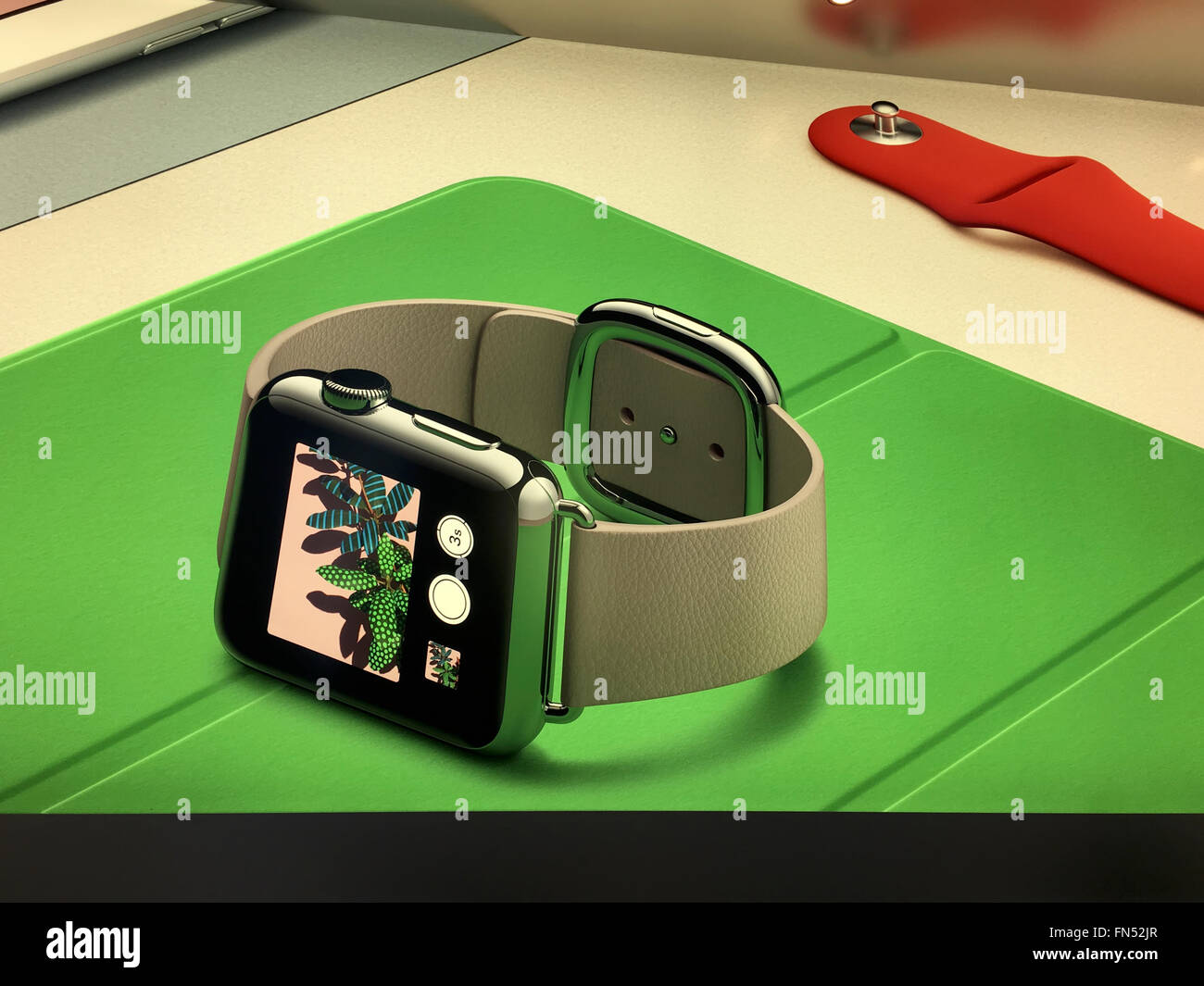 New York, New York City, USA  NEW YORK,  UNITED STATES AMERICA - FEB 23 2016: New Apple Watch smartwatch displaying - Stock Image