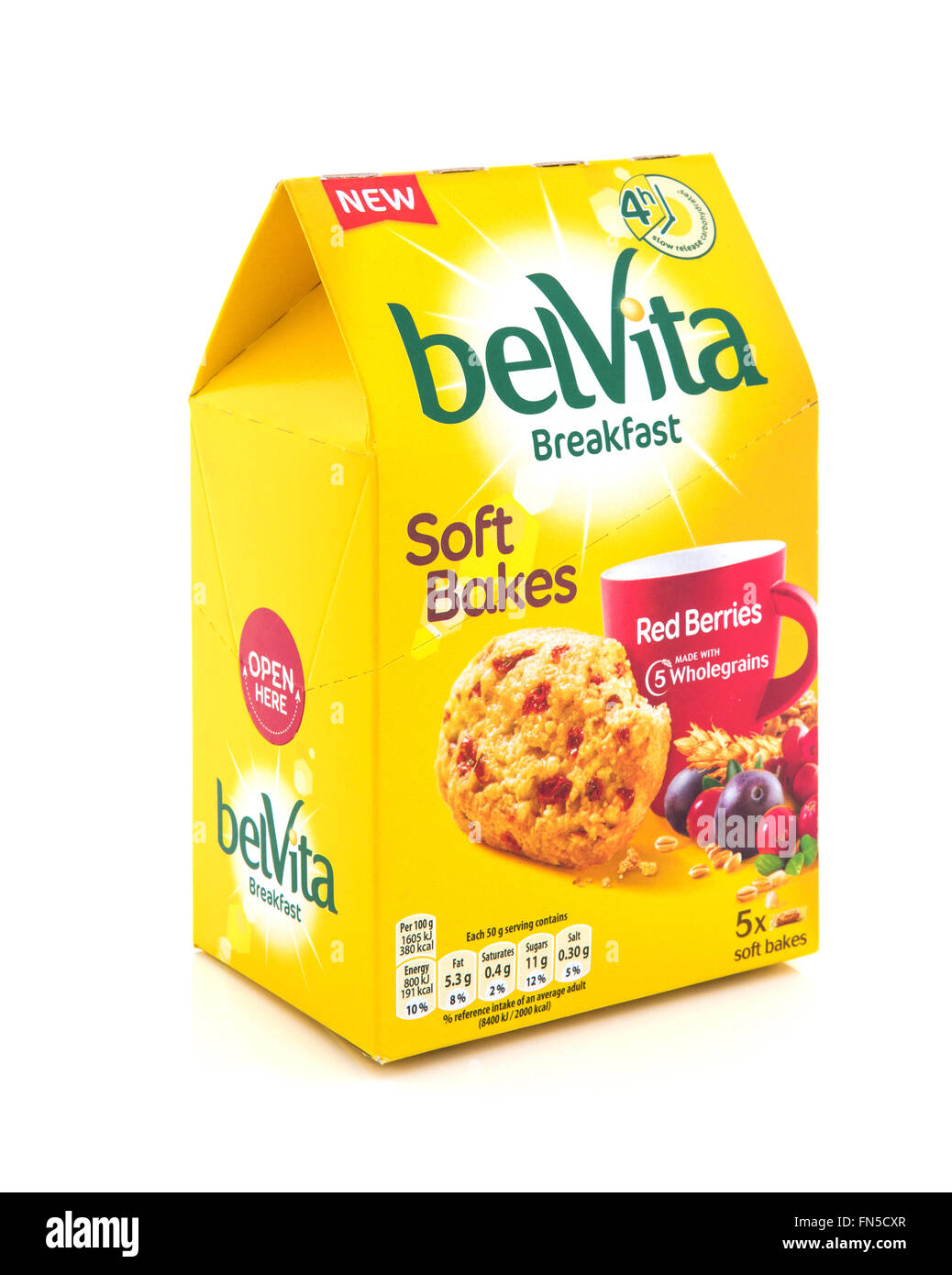 Belvita Soft Bakes Breakfast with Red Berries and wholegrains on a white background - Stock Image